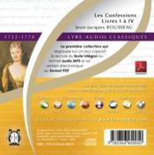 Les confessions ; livres I à IV (1712-1778) - Couverture - Format classique