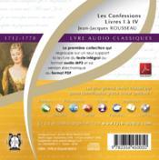 Les confessions ; livres I à IV (1712-1778) - 4ème de couverture - Format classique