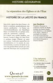 Histoire de la laïcité en France (6e édition) - 4ème de couverture - Format classique