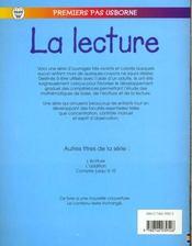 La Lecture - 4ème de couverture - Format classique