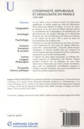 Citoyenneté, République et démocratie en France ; 1789-1889 - 4ème de couverture - Format classique