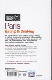 Paris eating and drinking - 8th edition - 4ème de couverture - Format classique