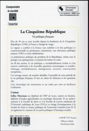 La cinquième République ; vie politique française (2e édition) - 4ème de couverture - Format classique