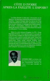 Cote D'Ivoire Apres La Faillite L'Espoir - 4ème de couverture - Format classique