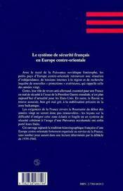 Le Systeme De Securite Francais En Europe Centre Orientale ; L'Exemple Roumain 1919-1933 - 4ème de couverture - Format classique