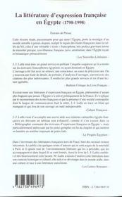 La Litterature D'Expression Francaise En Egypte 1798-1998 - 4ème de couverture - Format classique