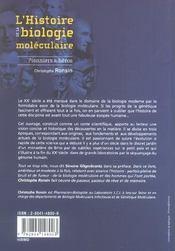 L'histoire de la biologie moléculaire - 4ème de couverture - Format classique
