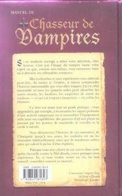 Manuel du chasseur de vampires - 4ème de couverture - Format classique