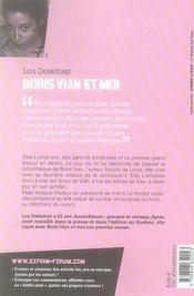 Boris Vian et moi - 4ème de couverture - Format classique