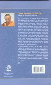 Claire Lumiere De Felicite ; Manuel De Meditation Tantrique - 4ème de couverture - Format classique