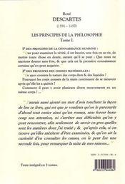 Les principes de la philosophie t.1 ; les principes - 4ème de couverture - Format classique