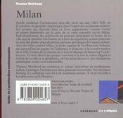 Guide D'Architecture Contemporaine De Milan - 4ème de couverture - Format classique