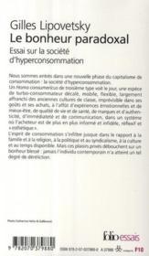 Le bonheur paradoxal ; essai sur la société d'hyperconsommation - Couverture - Format classique