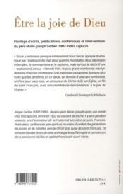 Être la joie de Dieu ; un apôtre franciscain au XX siècle - 4ème de couverture - Format classique