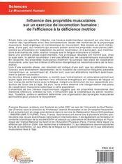 Influence des propriétés musculaires sur un exercice de locomotion humaine ; de l'efficience à la déficience motrice - 4ème de couverture - Format classique