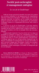 Société post-esclavagiste et management endogène ; le cas de la Guadeloupe - 4ème de couverture - Format classique