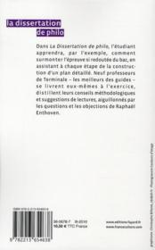 La dissertation de philo - 4ème de couverture - Format classique