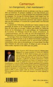 Cameroun ; le changement, c'est maintenant ! - 4ème de couverture - Format classique