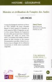 Les Incas (9e édition) - 4ème de couverture - Format classique