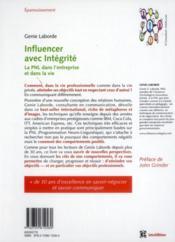 Influencer avec intégrité ; la programmation neuro-linguistique dans l'entreprise - 4ème de couverture - Format classique