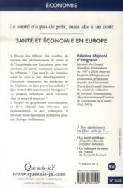 Santé et économie en Europe (7e. édition) - 4ème de couverture - Format classique