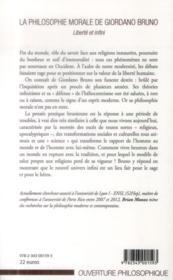 La philosophie morale de Giordano Bruno ; liberté et infini - 4ème de couverture - Format classique