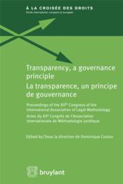 La transparence, un principe de gouvernance - Couverture - Format classique