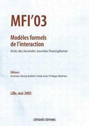 Mfi' 03 ; modeles formels de l'interaction - Intérieur - Format classique
