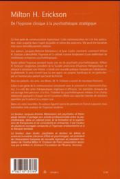 Milton H. Erickson ; de l'hypnose clinique à la psychothérapie stratégique - 4ème de couverture - Format classique