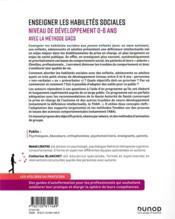 Enseigner les habiletés sociales niveau de développement 0 à 6 ans avec la méthode GACS ; du jeune enfant à l'adulte, avec autisme ou déficience intellectuelle - 4ème de couverture - Format classique