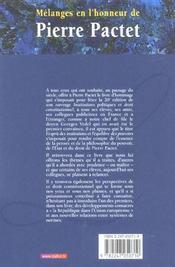 Mélanges en l'honneur de Pierre Pactet : l'esprit des institutions, l'équilibre des pouvoirs - 4ème de couverture - Format classique