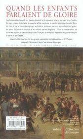 Quand les enfants parlaient de gloire ; l'armée au coeur de la france de napoléon - 4ème de couverture - Format classique