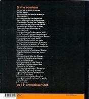 Je me souviens du 15eme arrondissement -2eme edition- (2e édition) - 4ème de couverture - Format classique