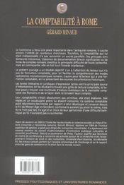 La comptabilite a rome. essai d'histoireeco sur la pensee comptable commercial - 4ème de couverture - Format classique