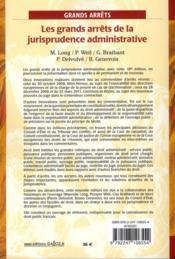 Les grands arrêts de la jurisprudence administrative (18e édition) - 4ème de couverture - Format classique
