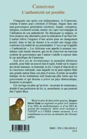 Cameroun ; l'authenticité est possible ; le rêve de ma nation - 4ème de couverture - Format classique