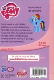 My little pony t.2 ; le concours de pouvoirs - 4ème de couverture - Format classique