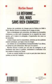 La réforme... oui mais sans rien changer ! - 4ème de couverture - Format classique