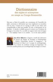 Dictionnaire des sigles et acronymes en usage au Congo-Brazzaville - 4ème de couverture - Format classique