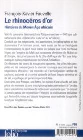 Le rhinoceros d'or ; histoires du Moyen âge africain) - 4ème de couverture - Format classique