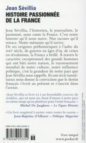 Histoire passionnée de la France - 4ème de couverture - Format classique