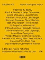 Initiales N.6 ; Initiales J.C.A. (Jean-Christophe Averty) - 4ème de couverture - Format classique