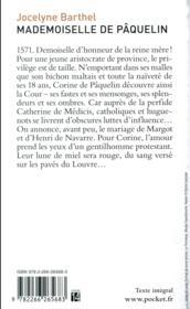 Mademoiselle de Pâquelin - 4ème de couverture - Format classique