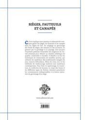 Sieges, fauteuils et canapés - 4ème de couverture - Format classique