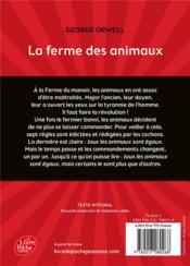 La ferme des animaux - 4ème de couverture - Format classique