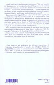 Idéologies et doctrines en économie - 4ème de couverture - Format classique
