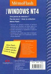 Memo Flash Windows Nt4 - 4ème de couverture - Format classique