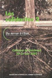 Les solidarites 2. du terroir a l'etat. colloque de bordeaux, 20 et 2 37408 - Intérieur - Format classique