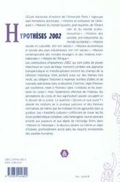 Hypotheses 2002. Travaux De L'Ecole Doctorale D'Histoire De L'Univers Ite Paris I Pantheon-Sorbonne (édition 2002) - 4ème de couverture - Format classique