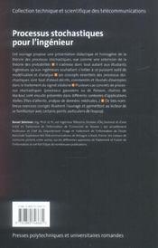 Processus stochastiques pour l'ingenieur - 4ème de couverture - Format classique